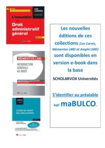 Les éditions 2018-2019 en Droit dans ScholarVox Universités